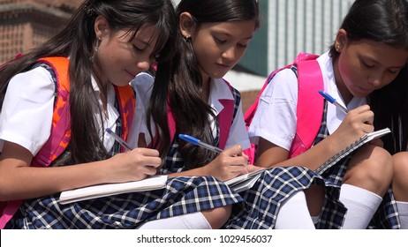 Catholic School Girls Wearing School Uniforms