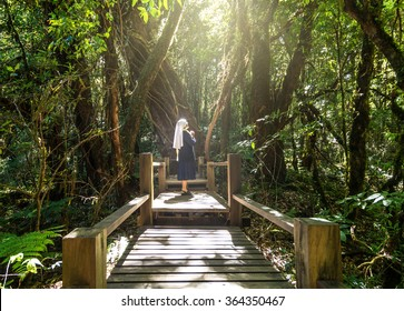 catholic senior nun praying at Beautiful rain forest at ang ka nature trail in doi inthanon national park, Thailand