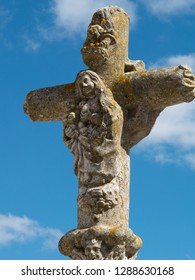 Catholic stone cross in Viana Do Alentejo, Evora, Portugal.