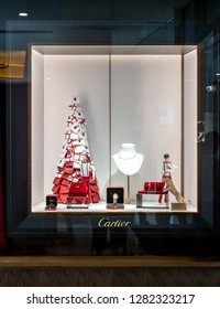 Catier shop at Emquartier, Bangkok, Thailand, Dec 31, 2018 : Luxury and fashionable watch brand window display at the store.