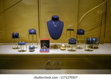 Catier shop at Siam Paragon, Bangkok, Thailand, May 9, 2018 : Luxury and fashionable jewelry and watches brand window display at the store.