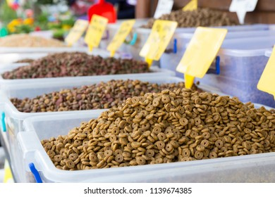 Cat's and Dog's dried food selling at open bazaar which food specifically formulated and intended for consumption by pets and other related canines. Copy space for text area.