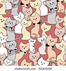 Cats seamless modern cute pattern
