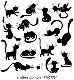 Cats silhouettes - poses, raster