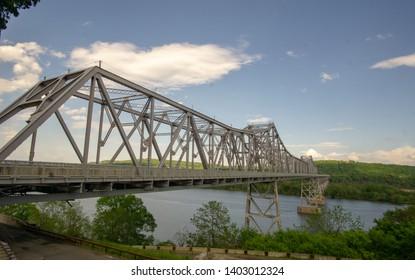Catskill, NY/United States-May 20th, 2019: Landscape view of Rip Van Winkle Bridge spanning the Hudson River between Catskill, NY and Hudson NY
