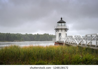 Cattails and Doubling Point Lighthouse - Arrowsic Island, Kennebec River, Maine, USA