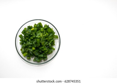 Catted fresh onion leaves
