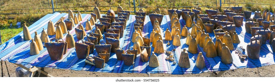 Cattle Fair celebration metal wind chimes handmade work in rural western Ukraine, the Carpathians pasture for flocks of sheep in the mountains