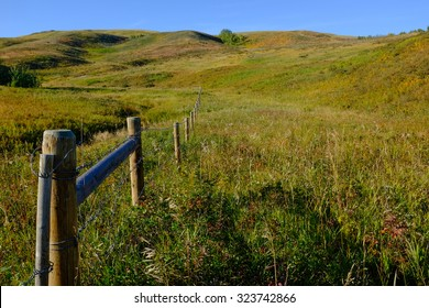 cattle fence curving away in lush western prairie