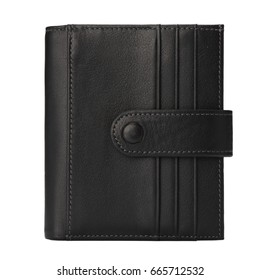 cattlehide black wallet stand in white background