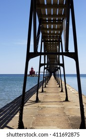 Catwalk leading to the beacon at the entrance to Sturgeon Bay ship canal in Wisconsin.