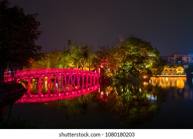 the Cau The Huc red bridge in Hanoi, Vietnam.