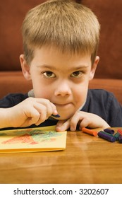 Caucasian boy drawing with crayons and looking at viewer.