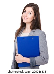 Caucasian business assistant with clipboard