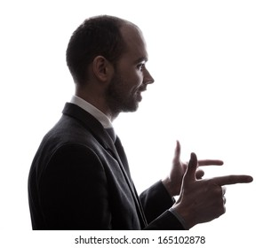 Caucasian business man silhouette