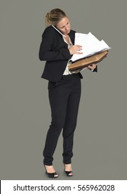 Caucasian Business Woman Busy Concept