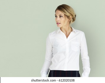 Caucasian Business Woman Smiling Candid