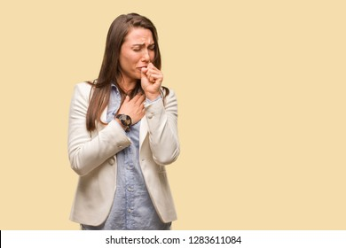 Caucasian business young woman coughing, sick due a virus or infection