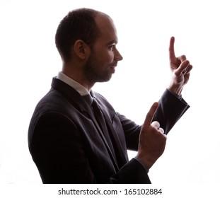 Caucasian businessman silhouette