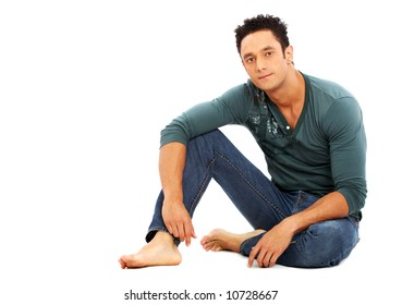 caucasian casual man on the floor - isolated over a white background