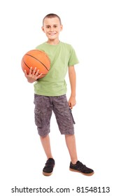 Caucasian child with basketball, isolated on white background