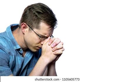 Caucasian Christianity Man Praying on iSolated White Background.