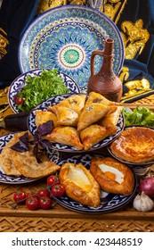 Caucasian cuisine baked in stove