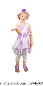 Caucasian cute little girl wearing a purple summer dress and heat stating and  pointing up, isolated on white background.