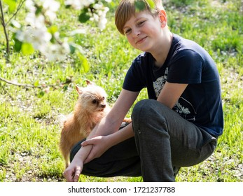 Caucasian fair-haired boy play with a dog in the garden during the COVID-19 coronavirus pandemic