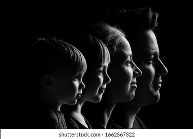 caucasian Family Portrait in Black and White. mom dad daughter and son. caucasian family with two children.
