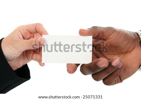 Caucasian female african american male hands stock photo edit now caucasian female and african american male hands exchanging business cards add text colourmoves