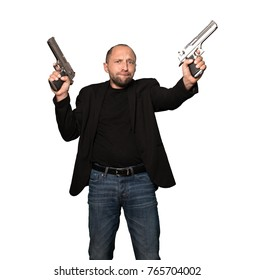 Caucasian Gangster with Guns Isolated On White Background
