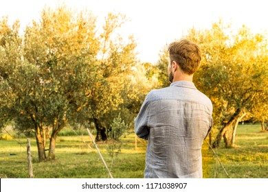 Caucasian gardener standing in front of an orchard. Agriculture or gardening - country outdoor scenery, summer gold sunset light.