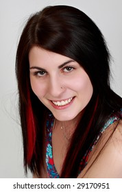 caucasian girl with nice smile, long hair