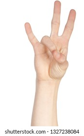 Caucasian hand doing American Sign Language  showing the symbol for 7