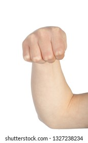Caucasian hand doing American Sign Language  showing the symbol for M