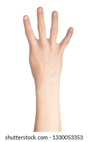 Caucasian hand doing British Sign Language  showing the symbol for 4
