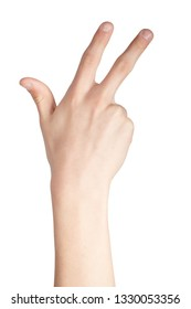 Caucasian hand doing British Sign Language  showing the symbol for 8