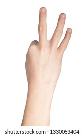 Caucasian hand doing British Sign Language  showing the symbol for 3