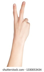 Caucasian hand doing British Sign Language  showing the symbol for 2