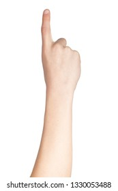 Caucasian hand doing British Sign Language  showing the symbol for 1