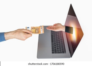 A Caucasian hand hands over a € 50 bill to another hand coming out of the laptop. It can represent an online transaction as tax payment or online extortion.