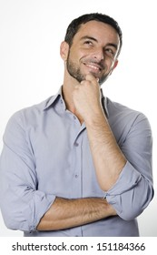Caucasian Happy Young Man with Beard Thinking Doubting and Considering a Decision Isolated in White Background
