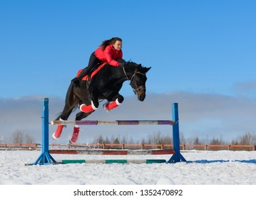 The caucasian horsewoman is overcoming the obstacle on a black horse in winter.