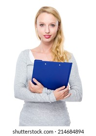 Caucasian lady with clipboard
