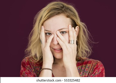 Caucasian Lady Hands Covering Face