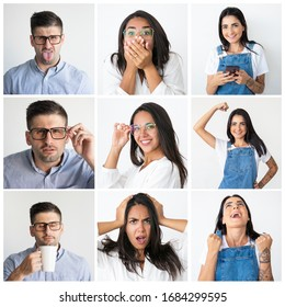 Caucasian and Latin men and women portrait set. Young people in casual with different facial expressions and gestures multiple shot collage. Human emotions concept