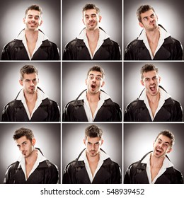 caucasian leather short hair brunette man square collection set of face expression like happy, sad, angry, surprise, yawn on gray