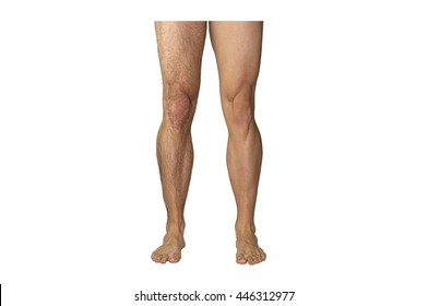Caucasian legs of athletic man before and after shave isolated on white background