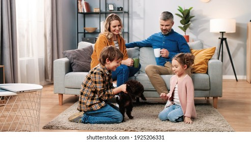 Caucasian lovely happy family gathered at home together. Mother and father sitting on sofa and drinking coffee watching their little kids girl and boy playing with cute animal puppy, home pet concept